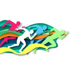 Marathon runner sprinter winner silhouettes vector