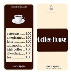 menu for coffee shop vector image vector image