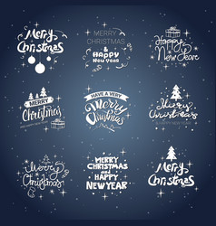 merry christmas icons set calligraphic text design vector image