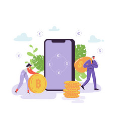 mobile currency exchange online banking characters vector image