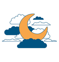 moon and clouds in night landscape color section vector image