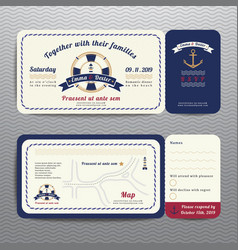 Nautical ticket wedding invitation and RSVP card vector image