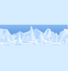 northern polar landscape with icebergs in snow vector image