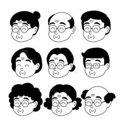 Old people cartoon avatars vector