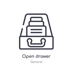 Open drawer outline icon isolated line from vector