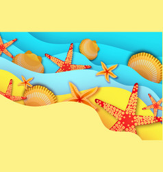 Origami clam mollusc shells exotic wave and sand vector