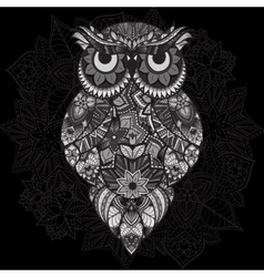 Patterned owl on the ornamental mandala vector image