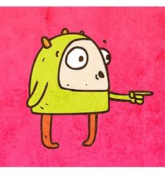 Pointing alien cartoon vector