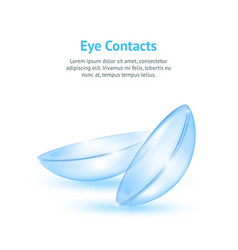 realistic detailed 3d contact lenses concept card vector image