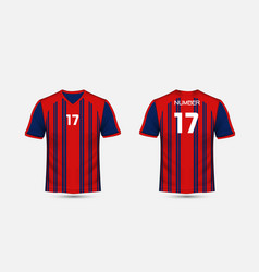 Red and blue stripe pattern sport football kits vector