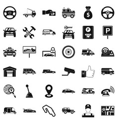 Rent car icons set simple style vector