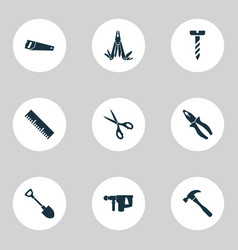 Repair icons set with clamp multifunctional vector