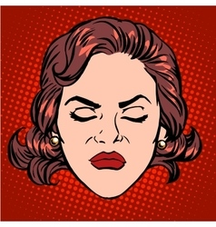 Retro Emoji anger rage woman face vector