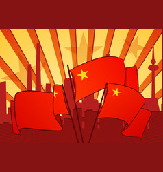 revolutional background with a red flags vector image