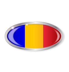 Romania flag oval button vector