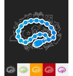 rosary paper sticker with hand drawn elements vector image