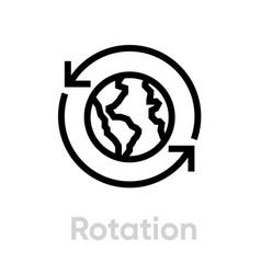 Rotation globe planet editable line vector