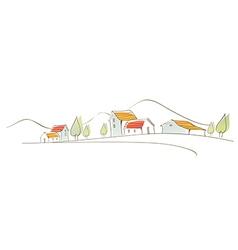 Rural houses on landscape vector image
