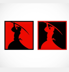 samurai sword japan abstract logo vector image