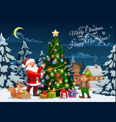 santa elf and reindeer decorating christmas tree vector image