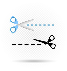 Scissors line cut symbol vector