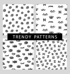 seamless patterns set with trendy eyes shapes vector image