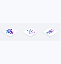 set isometric line smartphone with dollar symbol vector image