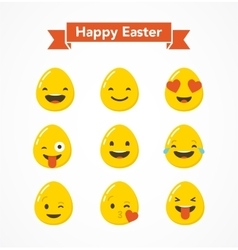 Set of Easter eggs emoticons emoji set vector image