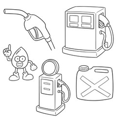 set of gas station vector image