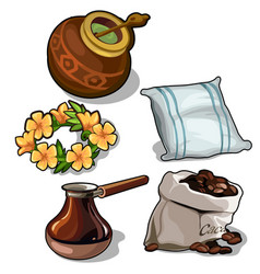 set of mate coffee pillow and floral wreath vector image