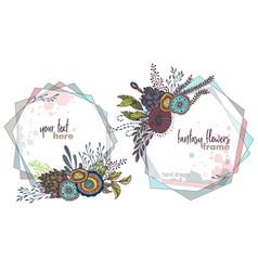 set two colorful floral frames vector image