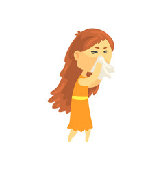 sick girl with long hair blowing her nose with a vector image