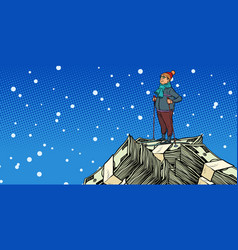 Skier middle-aged man money dollars mountaintop vector
