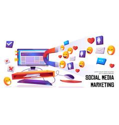 social media marketing banner magnet attract likes vector image