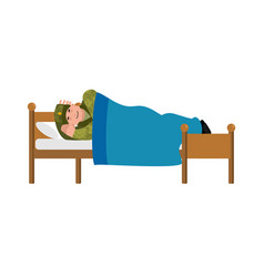 Soldier sleeping on bed military in russia vector