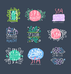Spa club beauty studio logo set badge for vector
