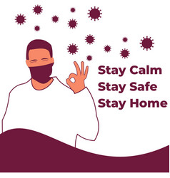Stay calm safe home vector