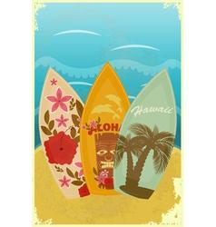 Surfboards on beach vector