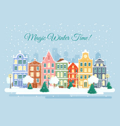 the town in wintertime vector image