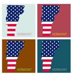 Vermont state of america with map flag print on vector