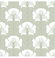 vintage seamless pattern with pink flowers art vector image