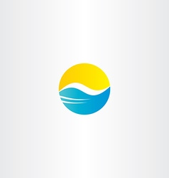 water wave and sun tourism logo element vector image vector image