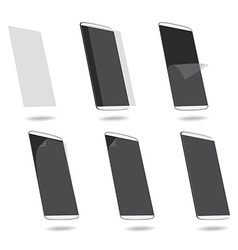 White smart phones protection film on screen set vector image