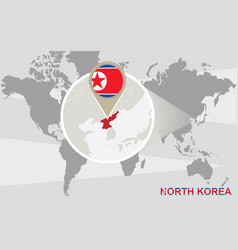 World map with magnified north korea vector