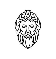 Zeus god of sky and thunder mono line vector