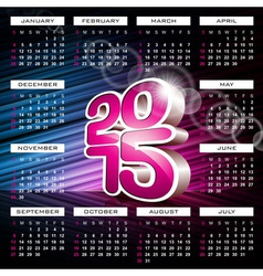 Calendar 2015 design on abstract color background vector image vector image