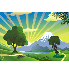 landscape - the view from the hill on the volcano vector image vector image