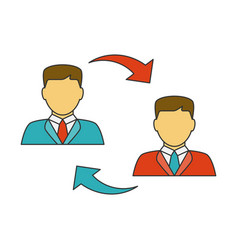 men exchanging flat line icon vector image vector image