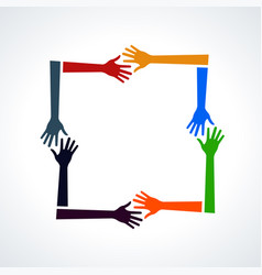 multiracial human hands in a square vector image