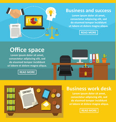 office space banner horizontal set flat style vector image vector image